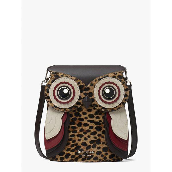 blinx leopard 3d owl crossbody