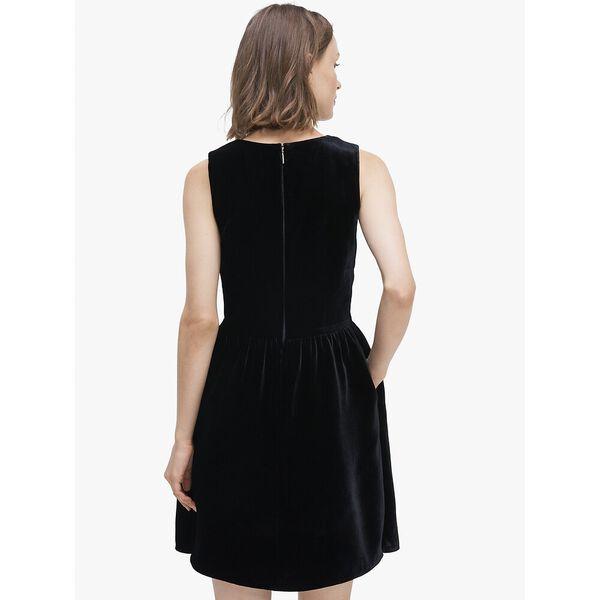 sequin-bow velvet dress, BLACK, hi-res