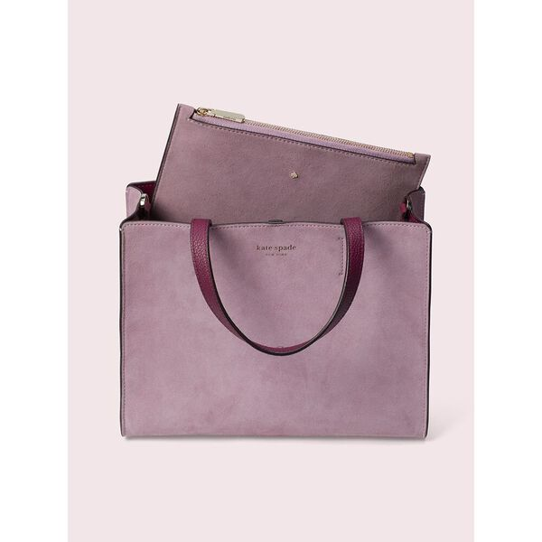 sam suede medium satchel, orchid, hi-res