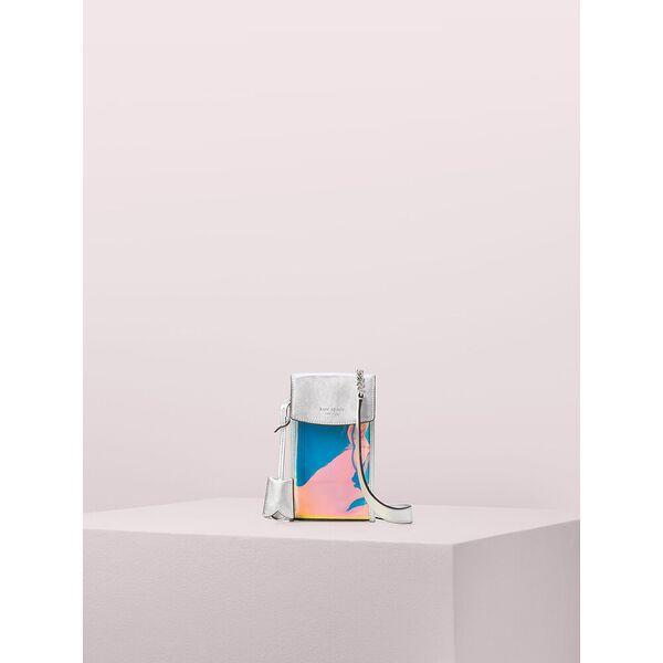 iridescent flap phone crossbody, silver multi, hi-res
