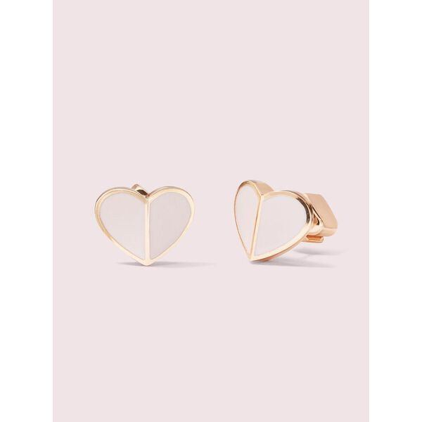 heritage spade small heart studs, pale vellum, hi-res