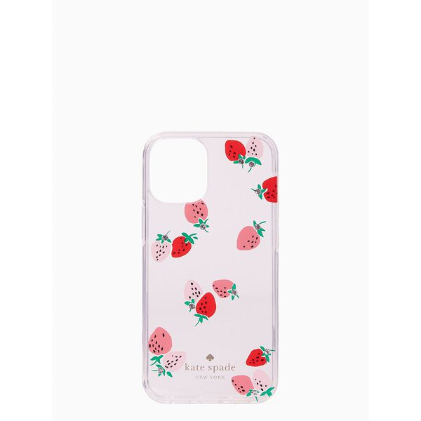 strawberry with gems iphone 12 mini case, clear, hi-res