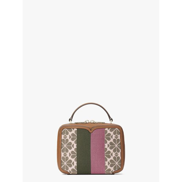 vanity spade flower jacquard stripe mini top-handle bag, PINK MULTI, hi-res