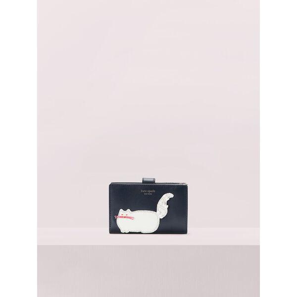 beaded cat bifold wallet