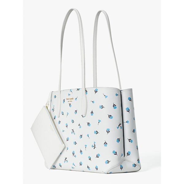 all day dainty bloom large tote, optic white multi, hi-res