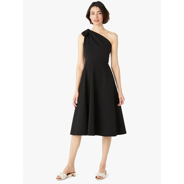 twill one-shoulder dress, black, hi-res