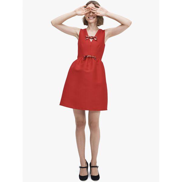 sequin-bow mikado dress, CRIMSON GEM, hi-res