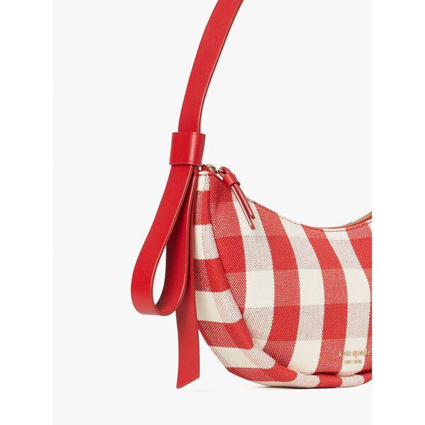 smile gingham small shoulder bag, red multi, hi-res