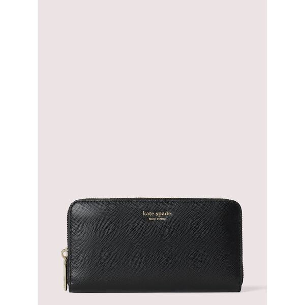 spencer zip-around continental wallet, black, hi-res