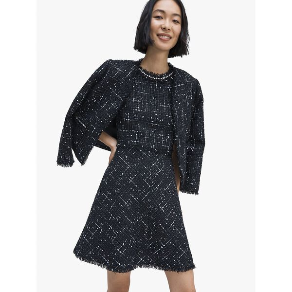 embellished tweed dress, BLACK, hi-res