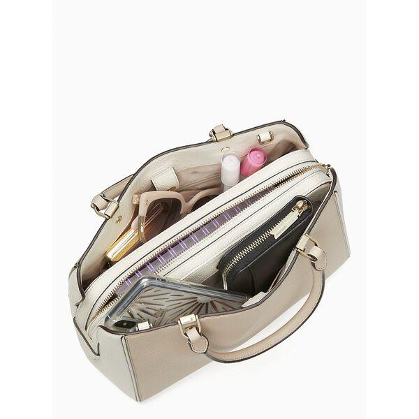 leila colorblock medium triple compartment satchel, warm beige multi, hi-res