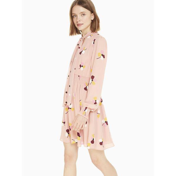 dusk buds print mix dress, conch shell, hi-res