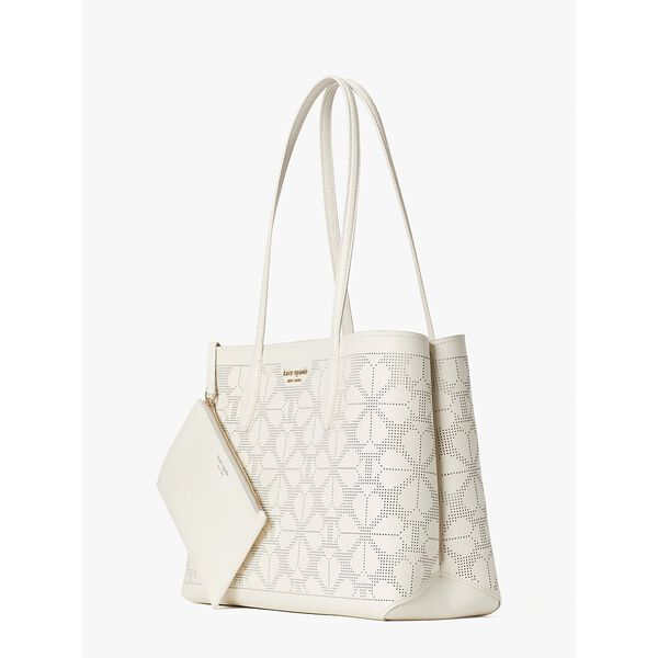 all day perforated large tote, parchment, hi-res