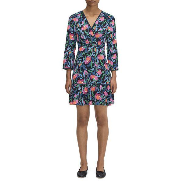 floral swirl dress, black, hi-res