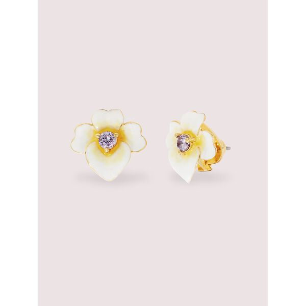 precious pansy studs, YELLOW MULTI, hi-res