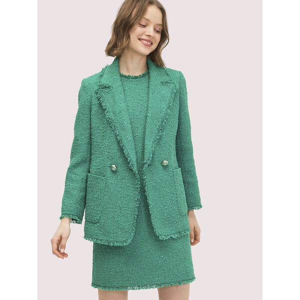 sequin tweed blazer, TROPICAL LEAF, hi-res