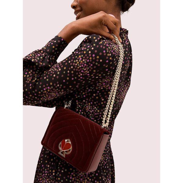 amelia velvet small convertible chain shoulder bag, cherrywood, hi-res