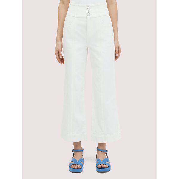 denim cropped flare pant, FRESH WHITE, hi-res