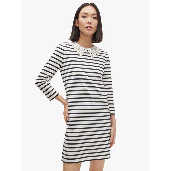 lace collar striped tee dress