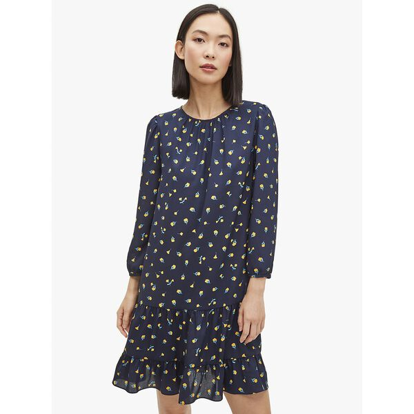 dainty bloom shift dress, squid ink, hi-res
