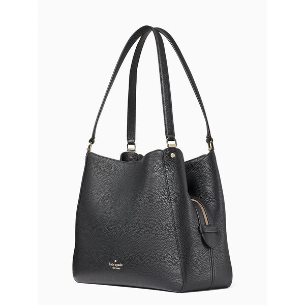 leila medium triple compartment shoulder bag, black, hi-res