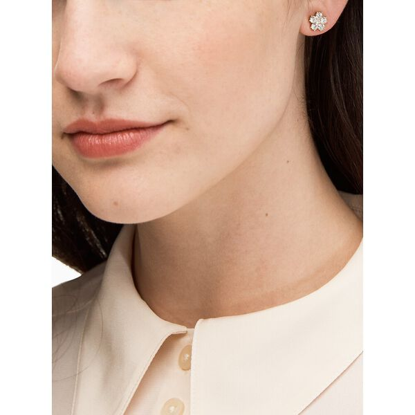 flower studs, clear/gold, hi-res