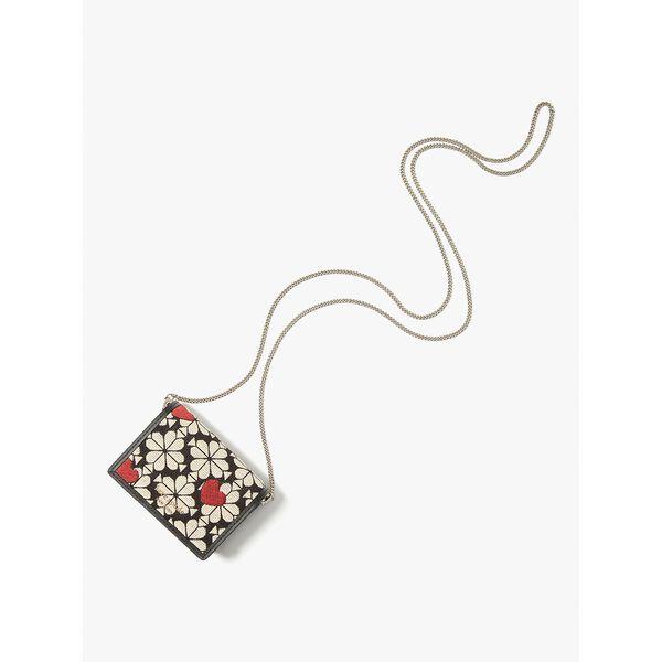 spade flower jacquard hearts chain cardholder, black multi, hi-res