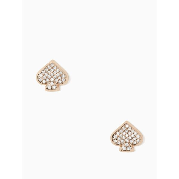everyday spade pave studs, clear/rose gold, hi-res