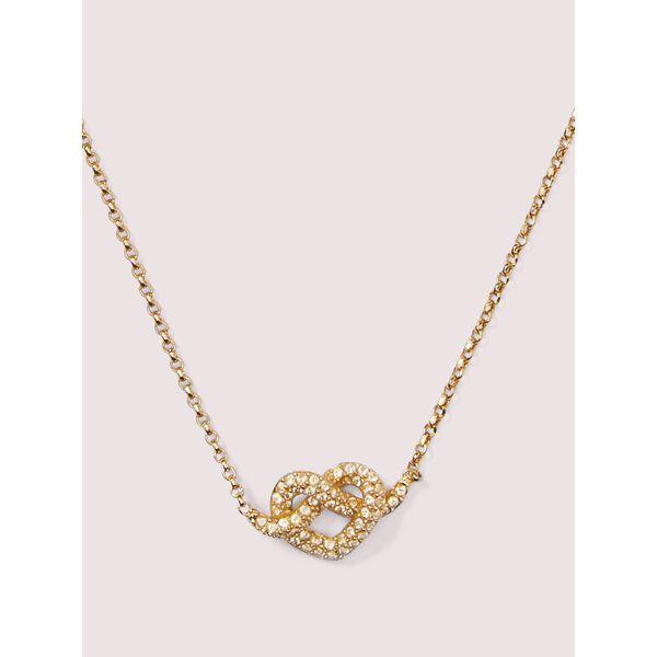 loves me knot pavé mini pendant, clear/gold, hi-res