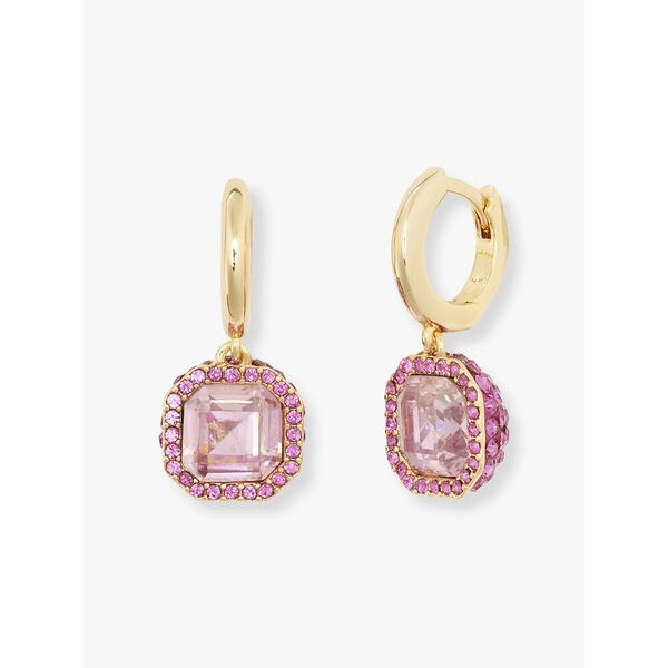 brilliant statements pavé drop earrings, pink, hi-res