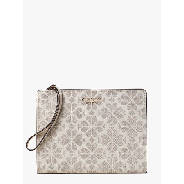 spade flower coated canvas gusseted wristlet