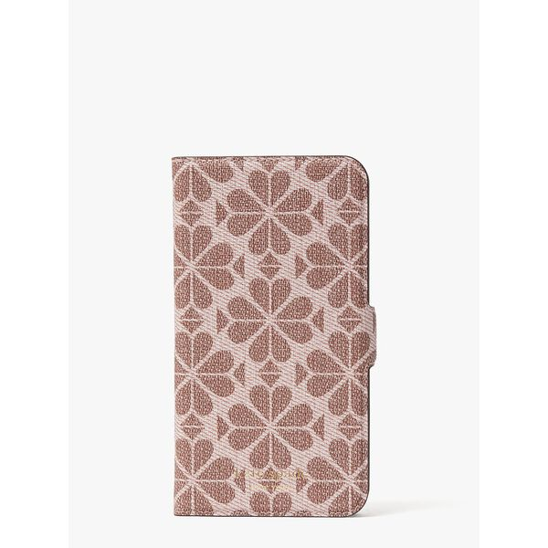 spade flower coated canvas iphone 11 magnetic wrap folio case, PINK MULTI, hi-res