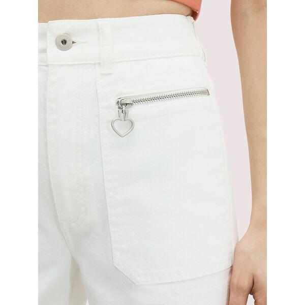 spade zip denim pant, fresh white, hi-res