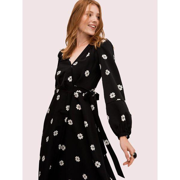 spade clover toss wrap dress, black, hi-res