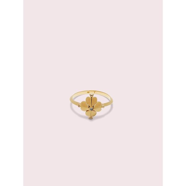 legacy logo spade flower ring, clear/gold, hi-res