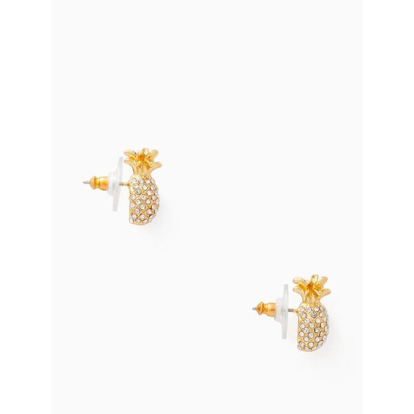 by the pool pave pineapple mini studs, clear/gold, hi-res