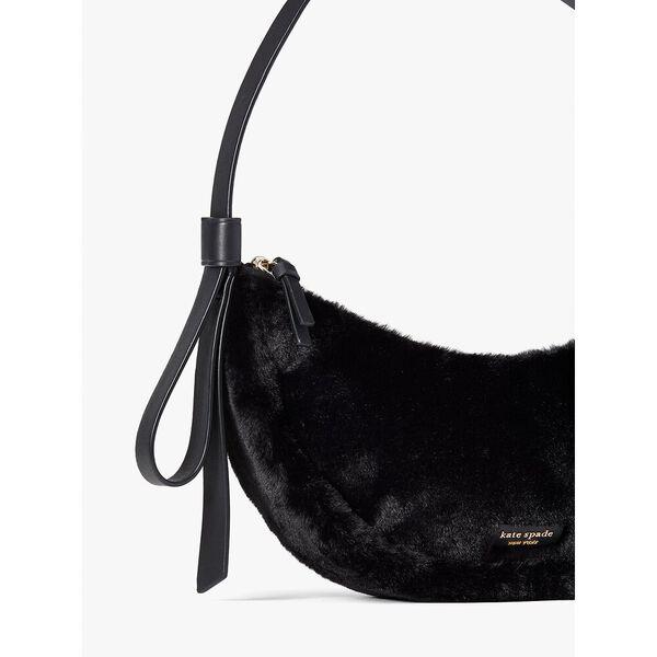 smile faux-fur small shoulder bag, black, hi-res