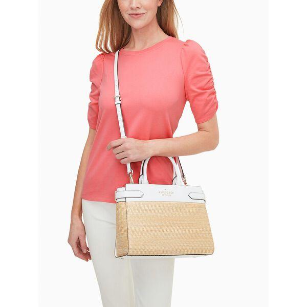 staci straw medium satchel, white dove, hi-res