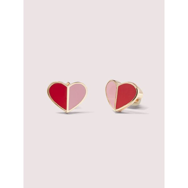 heritage spade small heart studs, pink multi, hi-res