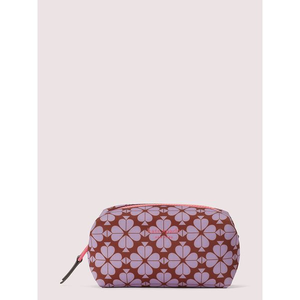 spade flower neoprene medium cosmetic case, frozen lilac multi, hi-res