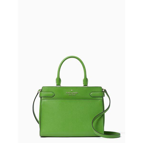 staci medium satchel, turaco green, hi-res