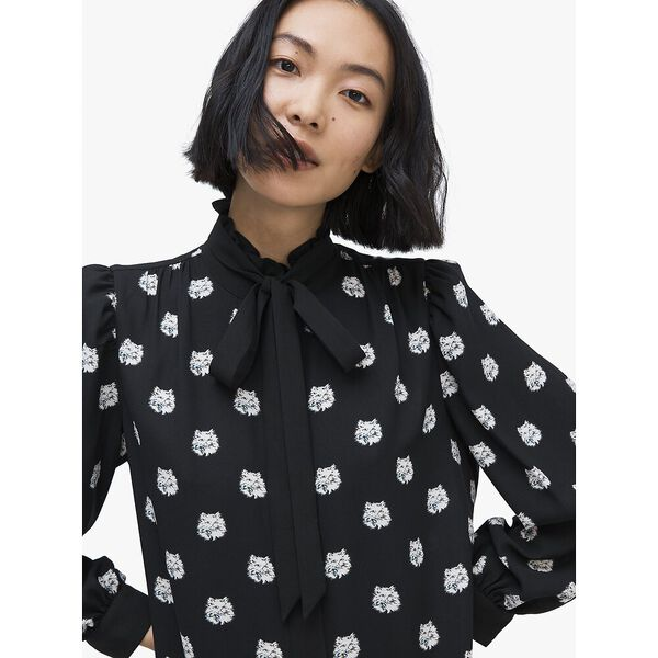 cat dot shirtdress, BLACK, hi-res