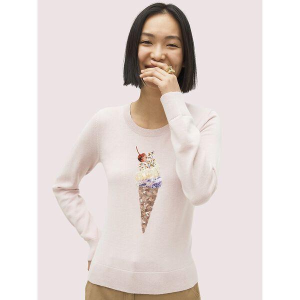 embellished ice cream sweater, plum dawn, hi-res