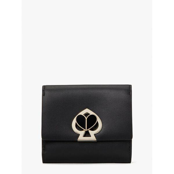nicola twistlock bifold flap wallet, black/black, hi-res