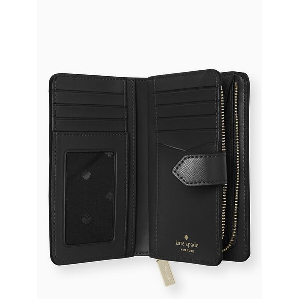 staci medium compact bifold wallet, black, hi-res