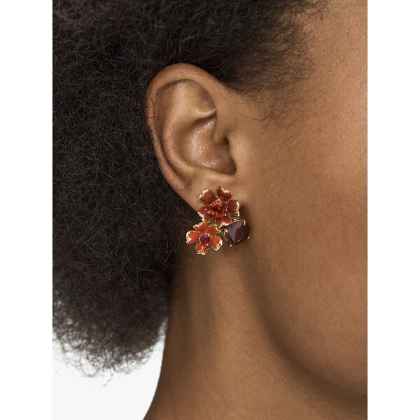 blushing blooms cluster studs, LACQUERRED, hi-res