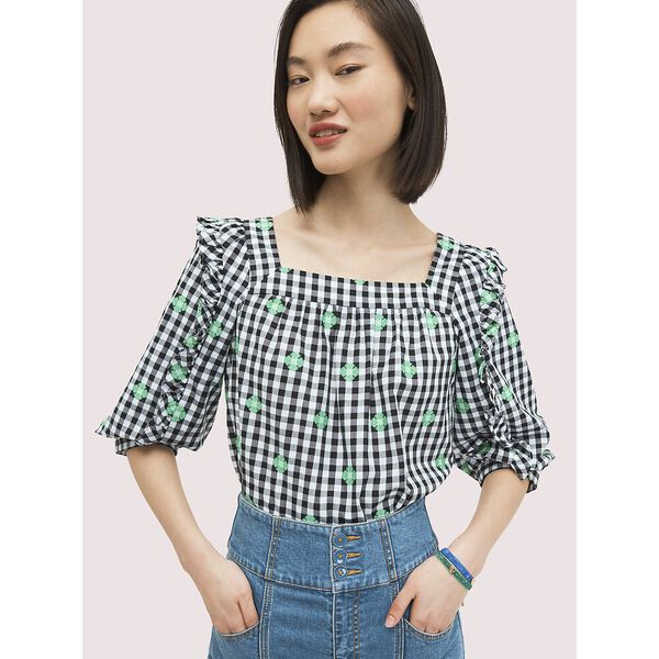 gingham voile top, FRESH WHITE, hi-res