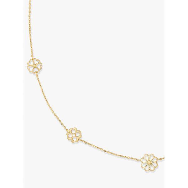 spade floral long scatter necklace, clear/gold, hi-res