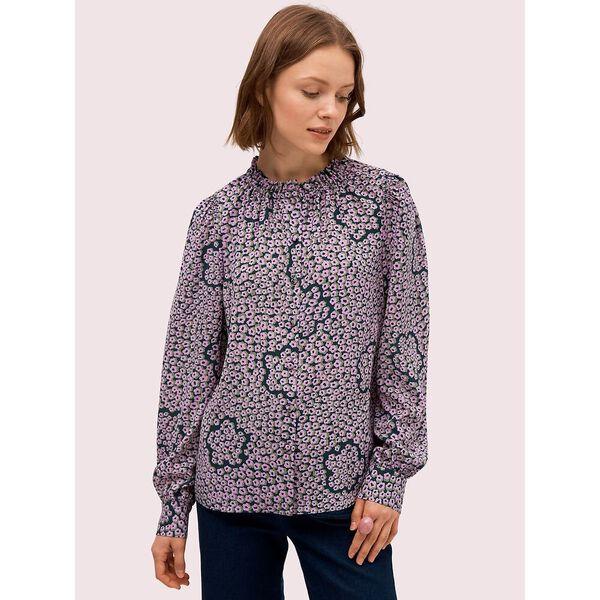 flair flora ruffle neck blouse