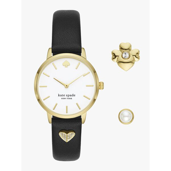 metro leather watch and charm set, black/gold, hi-res